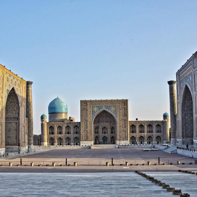 """The Registan Square at dawn, Samarkand, Uzbekistan"" stock image"