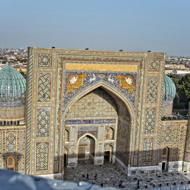 """""""Sher Dor Madrassa; Samarkand, Uzbekistan"""" stock image"""