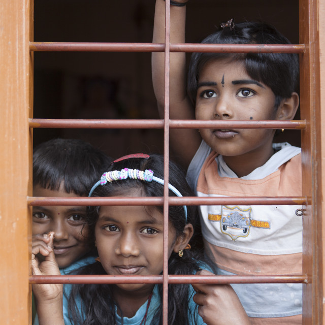 """children at the window"" stock image"