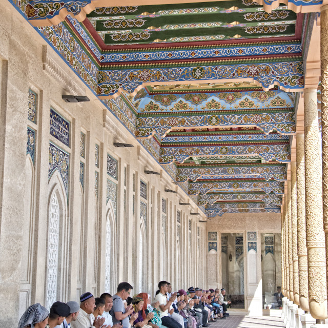 """Prayers at the Hazrat Hizr Mosque, Samarkand"" stock image"