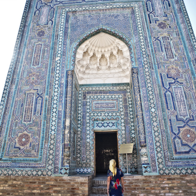 """""""Mausoleum of the Prophet Mohamed's cousin; Sha-i Zinda, Samarqand"""" stock image"""
