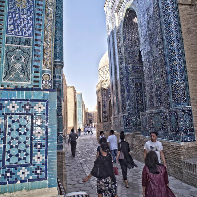 """""""Shah-i Zinda, Samarkand, Uzbekistan"""" stock image"""