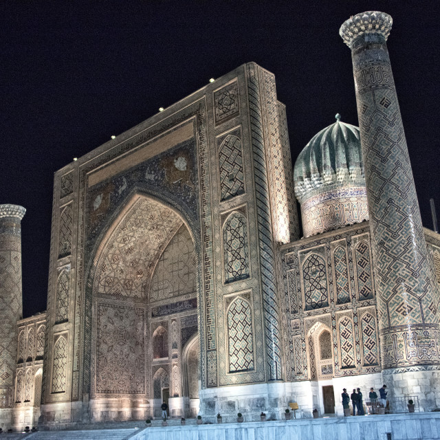 """The Sher Dor madrassa at night; Registan Square, Samarkand"" stock image"