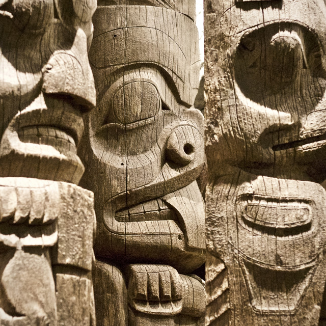 """First Nations Totem Poles"" stock image"
