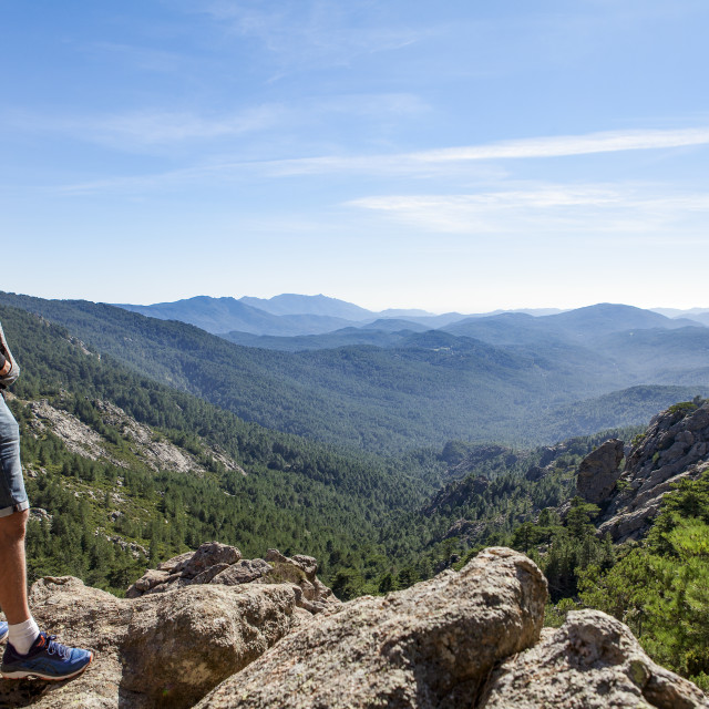 """lonely man looking at the valley"" stock image"