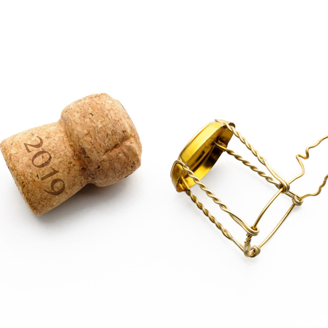 """""""2019 New year Champagne Cork"""" stock image"""