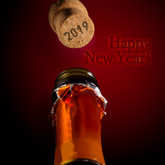 """""""Champagne for the 2019 New Year"""" stock image"""