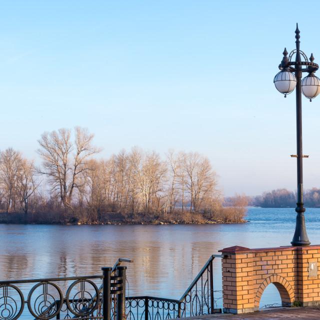 """Street Lamp Close to the Dnieper River in Kiev"" stock image"