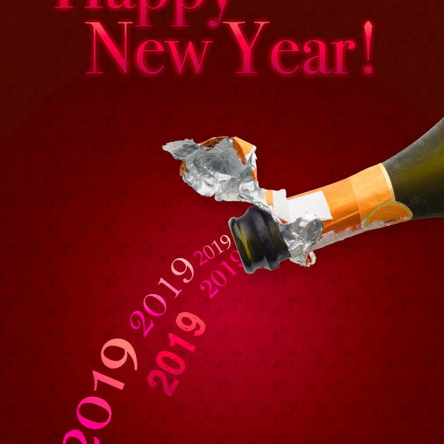 """""""Champagne for New Year 2019"""" stock image"""