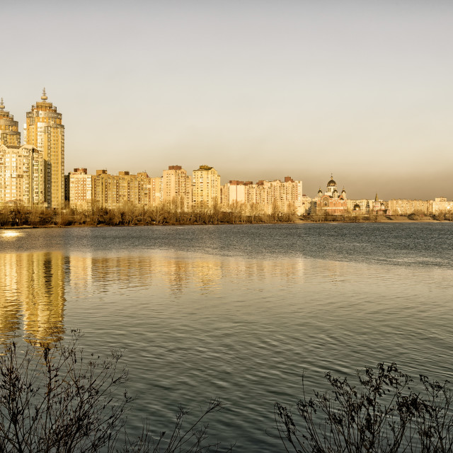 """""""Golden City Close to the Dnieper River"""" stock image"""