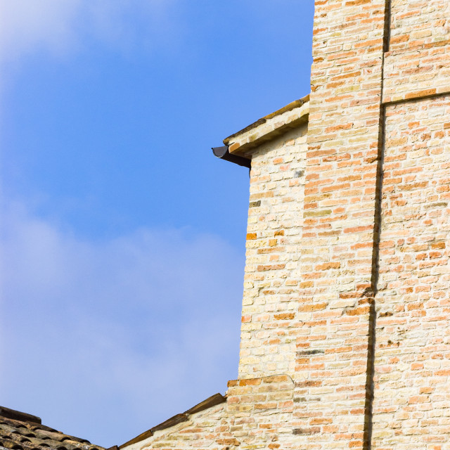"""Belvedere Fogliense brick church in Italy"" stock image"