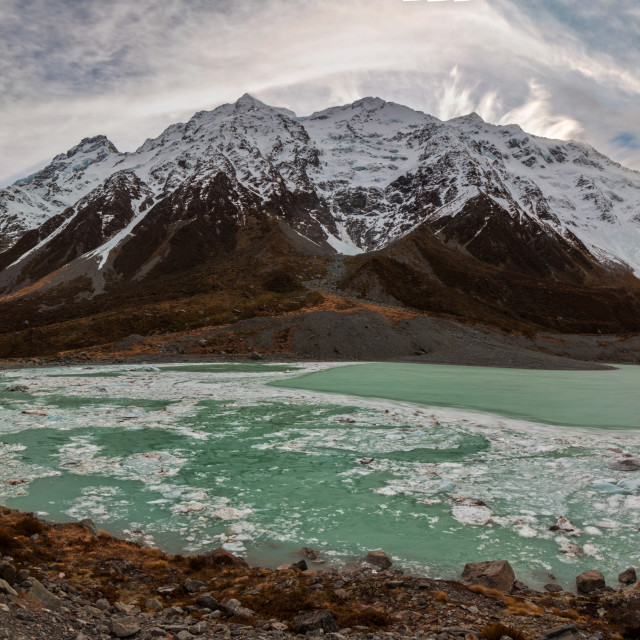 """""""The Hooker Glacier is one of several glaciers close to the slopes of Aoraki / Mount Cook in the Southern Alps of New Zealand."""" stock image"""