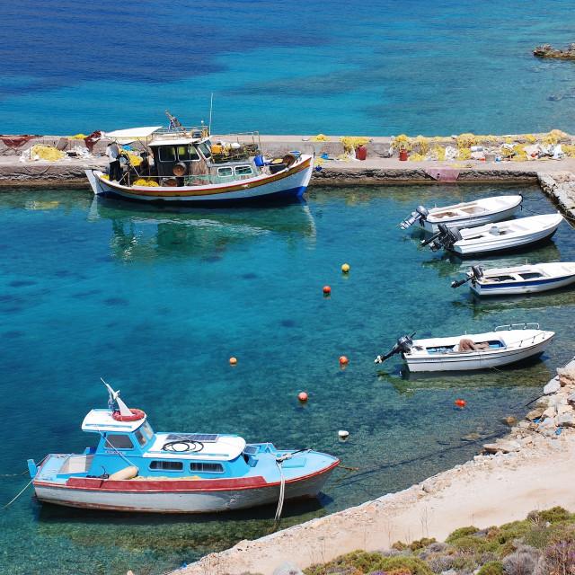 """Boats at Livadia, Tilos"" stock image"