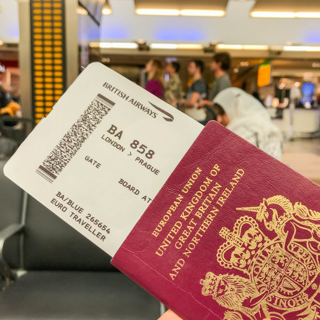 """Passport and boarding pass"" stock image"