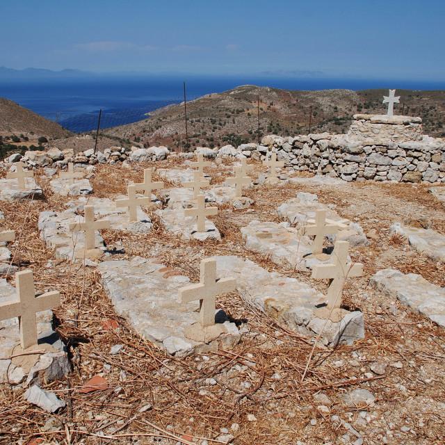 """""""Mikro Chorio cemetery, Tilos"""" stock image"""