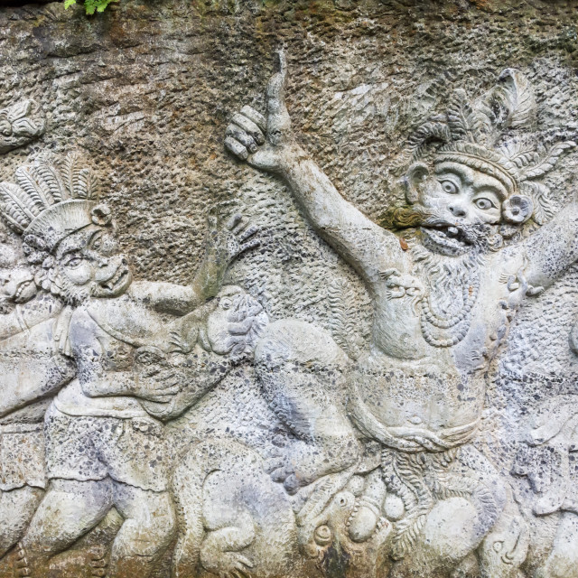 """Stone sculptures covered in Ubud Monkey Forest Sanctuary. Bali, Indonesia"" stock image"