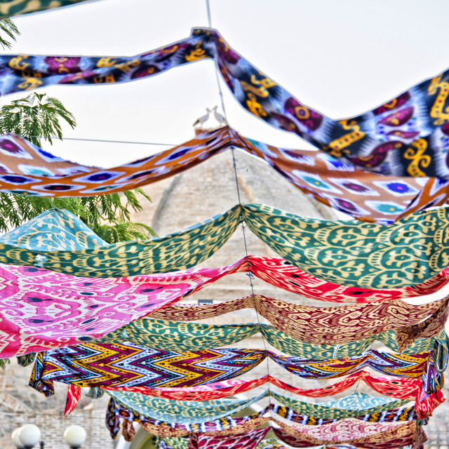 """Ikat banner in Bukhara, Uzbekistan"" stock image"