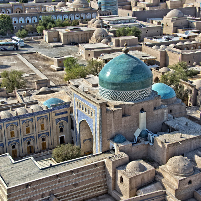 """Aerial view of the Pahlavan Mahmoud Mausoleum; Khiva, Uzbekistan"" stock image"