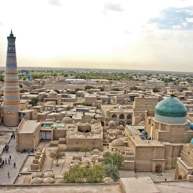 """Aerial view of the Ichon Qala; old Khiva, Uzbekistan"" stock image"