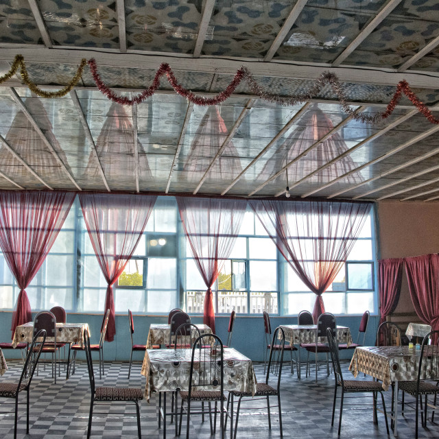"""Empty roadside café; Uzbekistan"" stock image"