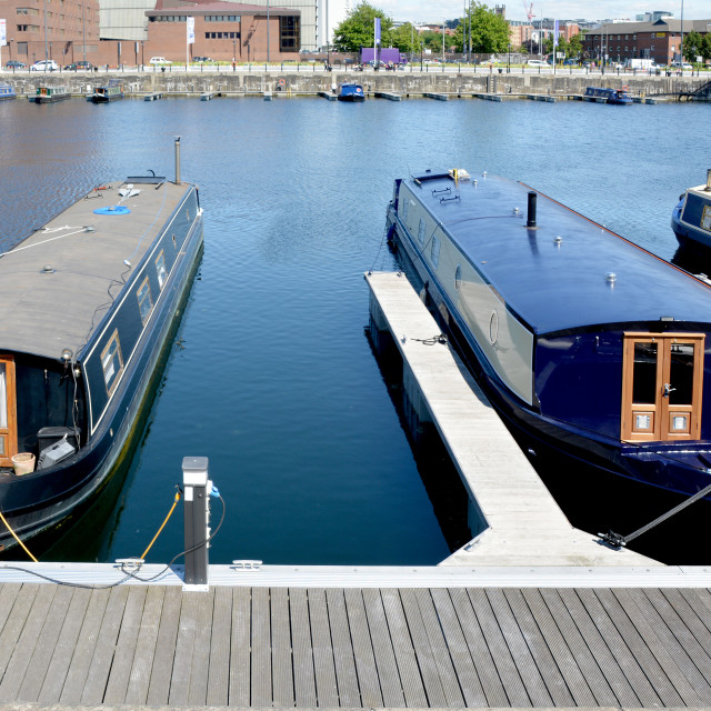 """Canal boats on Salthouse dock"" stock image"