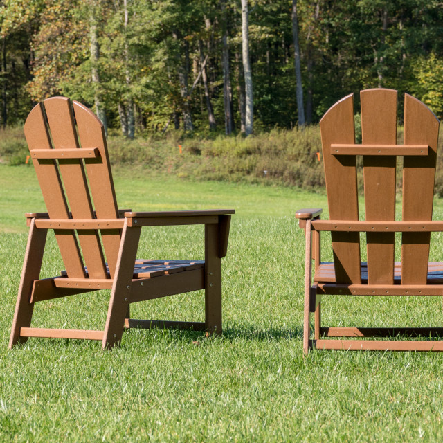 """""""Rear view of two wooden painted adirondack chairs"""" stock image"""