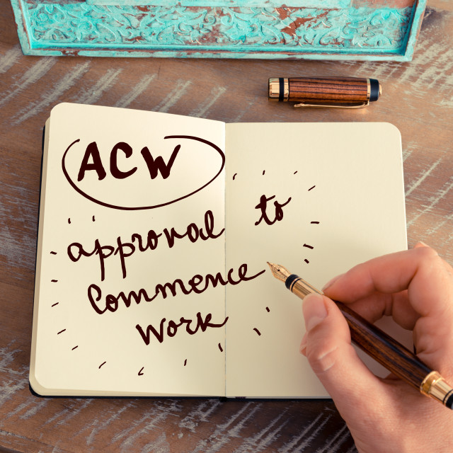 """""""Acronym ACW APPROVAL TO COMMENCE WORK"""" stock image"""