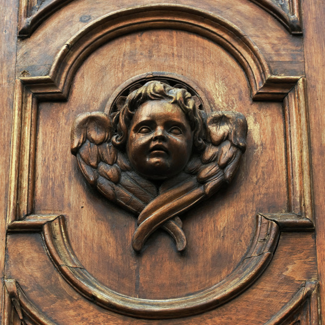 """""""A detail of an old church doorway"""" stock image"""