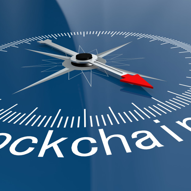 """""""Blue compass with Blockchain Technology word"""" stock image"""