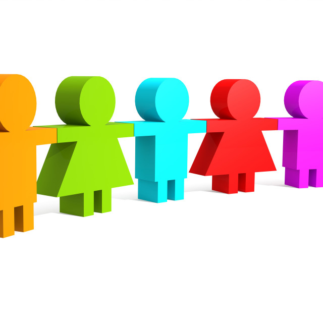 """Multi color people in a line"" stock image"