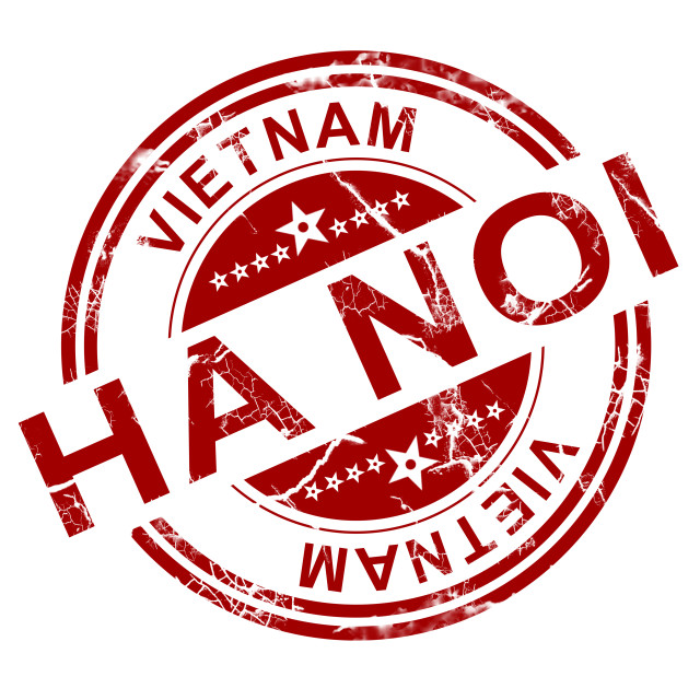 """Red Ha Noi stamp"" stock image"