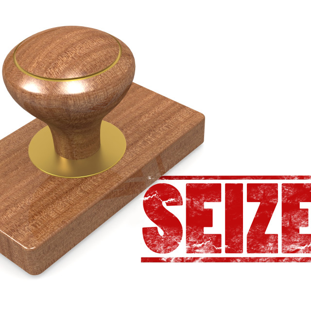 """""""Seized wooded seal stamp"""" stock image"""