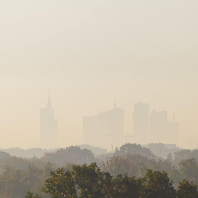 """""""Warsaw, the capital of Poland covered in smog and fog"""" stock image"""