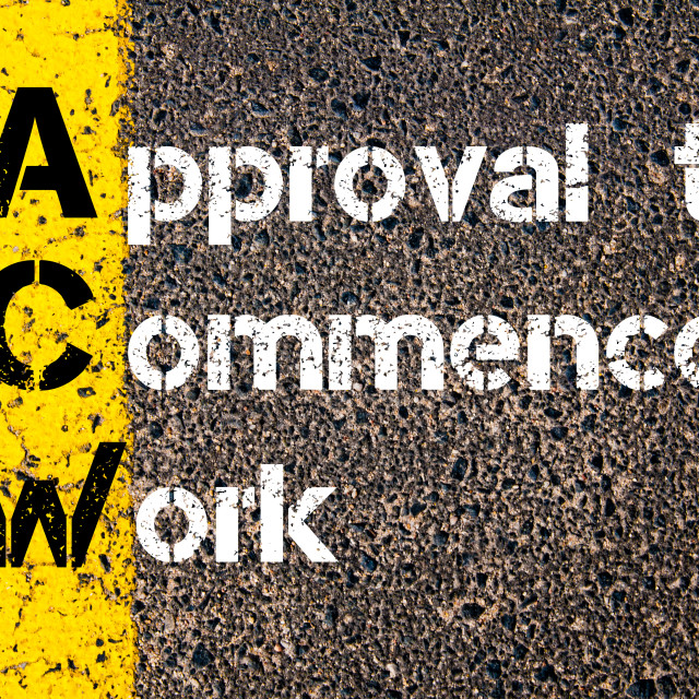 """""""Business Acronym ACW Approval to Commence Work"""" stock image"""