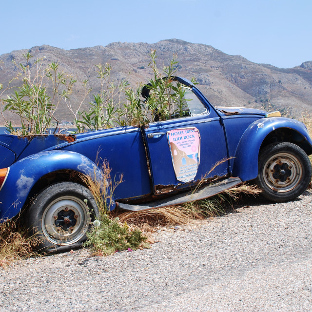 """""""Overgrown Volkswagen, Tilos"""" stock image"""