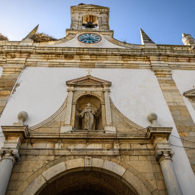 """Church facade in Old town Faro Portugal"" stock image"