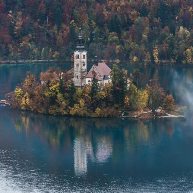 """Lake Bled Slovenia in Autumn"" stock image"