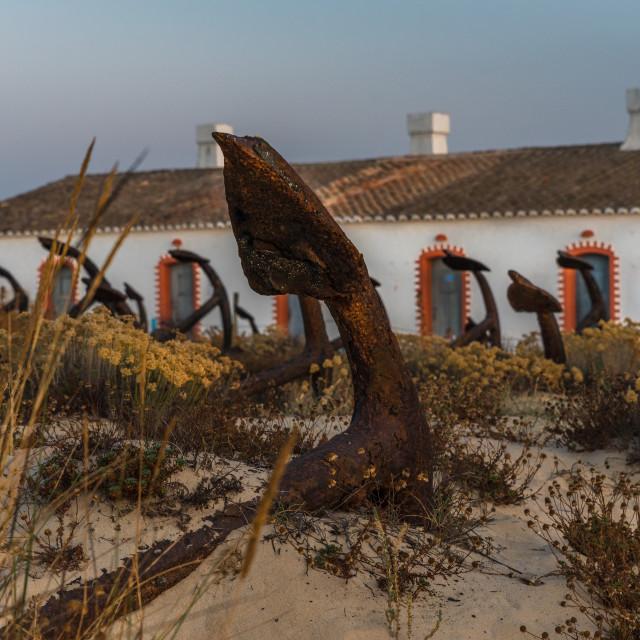 """Anchors on Barril Beach Algarve Portugal"" stock image"