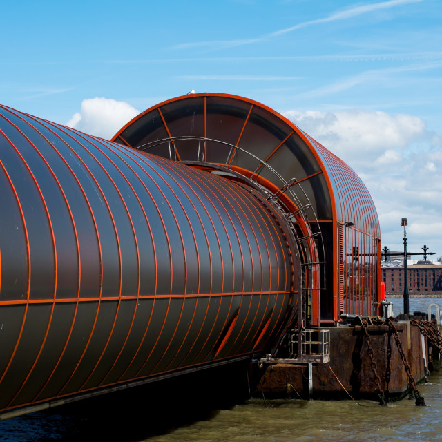 """""""Seacombe Ferry's new covered access"""" stock image"""