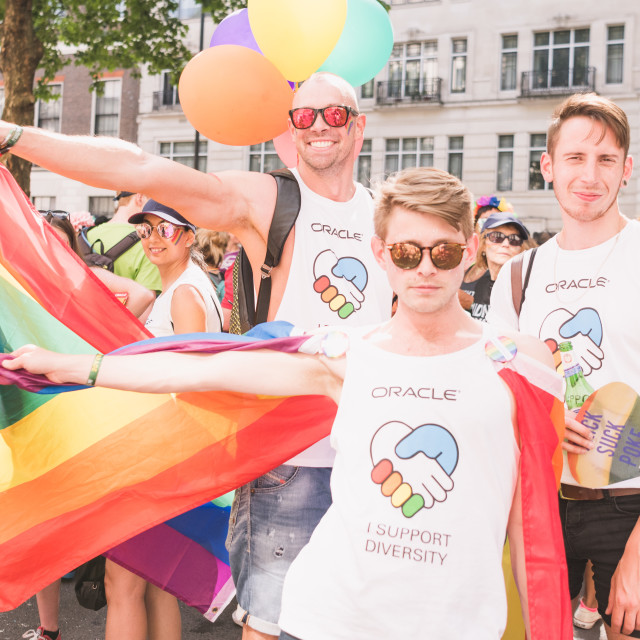 """""""Friends at Pride"""" stock image"""