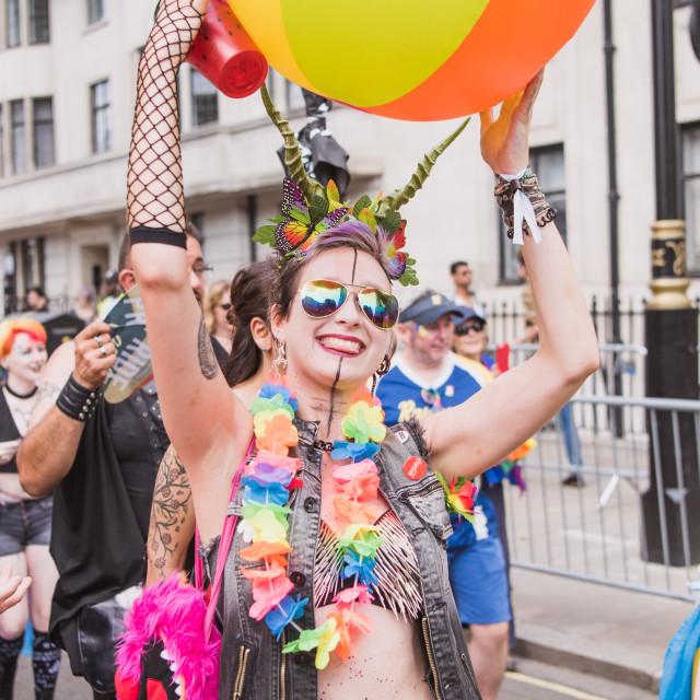 """Woman at Pride London"" stock image"