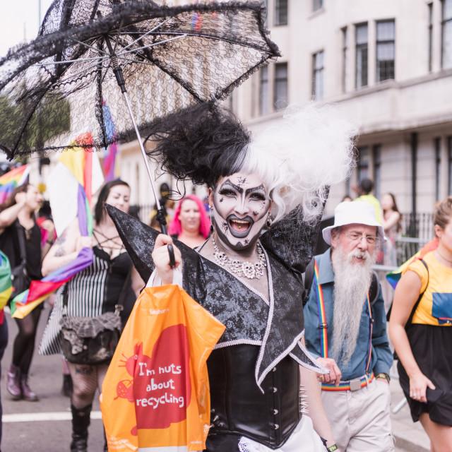 """Man in drag at Pride London"" stock image"