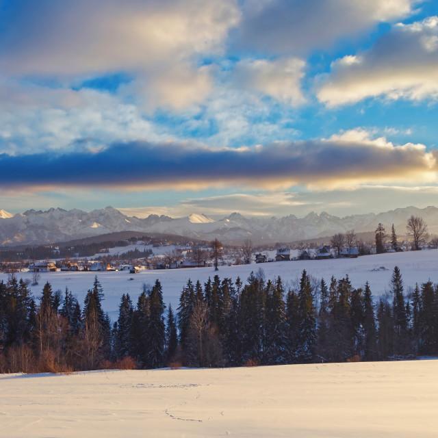"""Distant Tatry mountains winter panorama"" stock image"