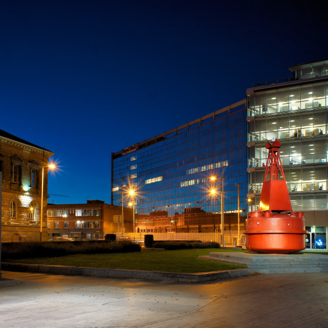 """""""Red Bouy in Donegall Quay"""" stock image"""