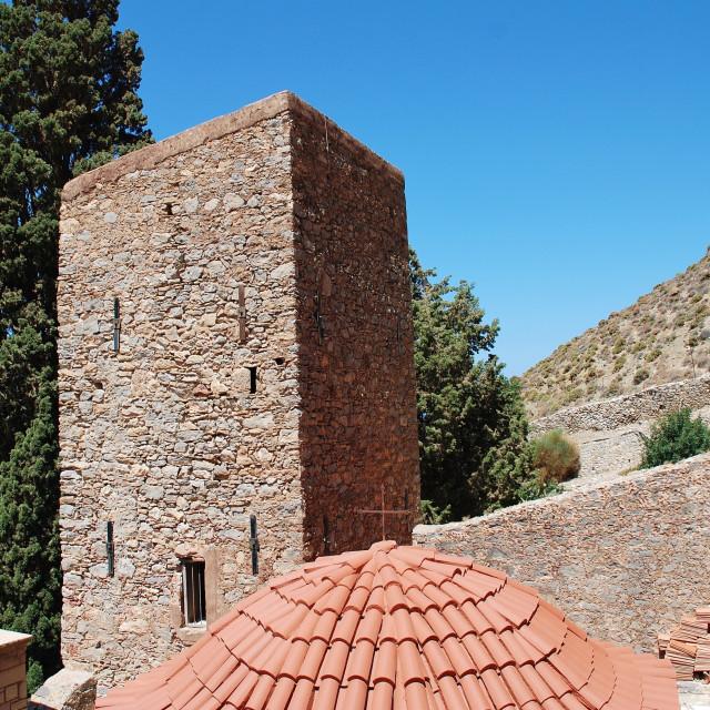 """""""Monastery of Agios Panteleimon, Tilos island"""" stock image"""
