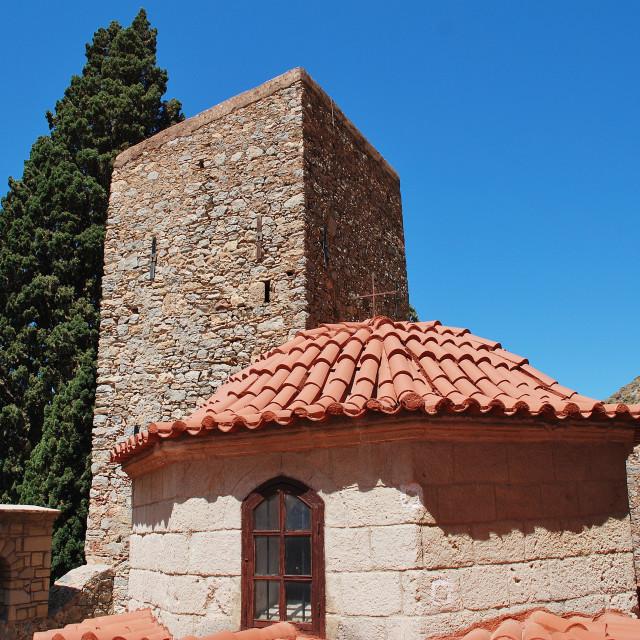 """""""Agios Panteleimon monastery, Tilos"""" stock image"""