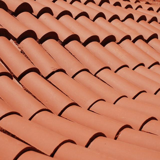 """Monastery roof tiles, Tilos"" stock image"