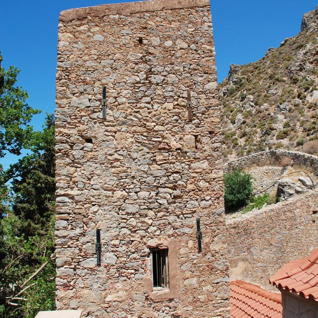 """Byzantine monastery, Tilos island"" stock image"
