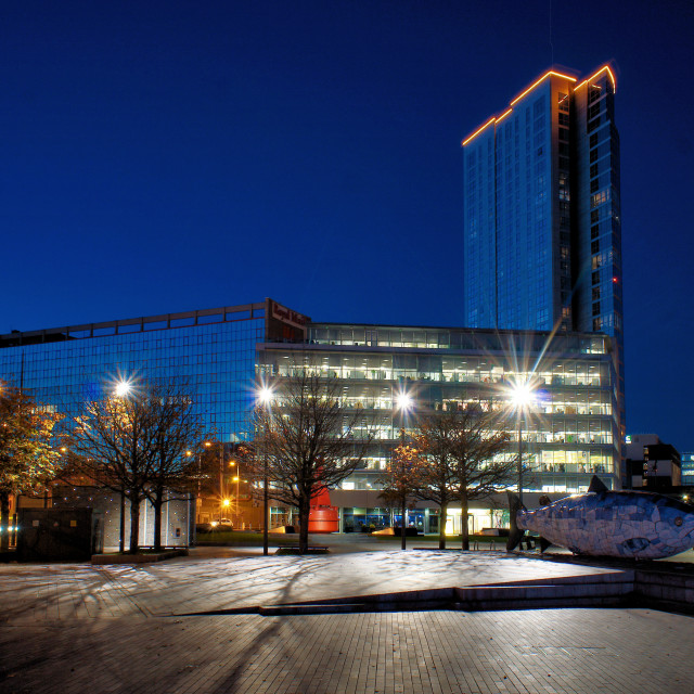 """""""Donegall Quay at night"""" stock image"""