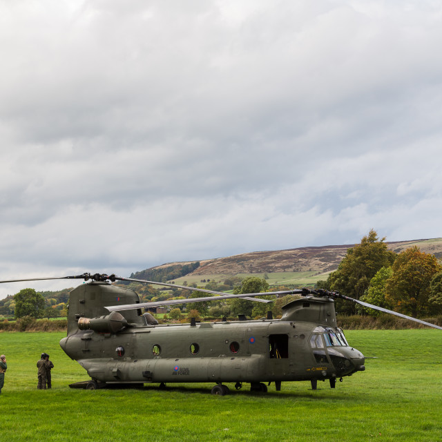 """RAF Chinook in a valley in the Peak District"" stock image"